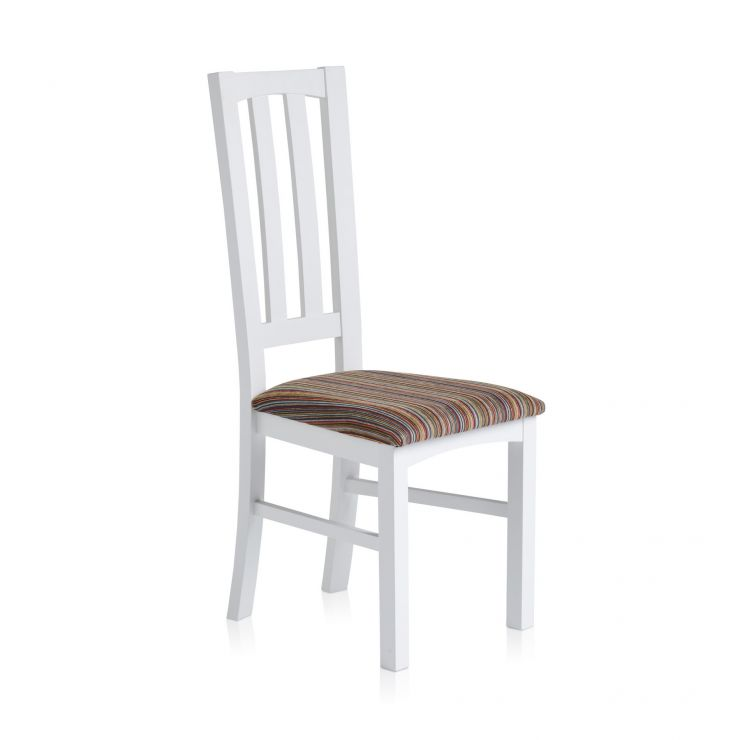 Shaker White Painted Hardwood Striped Multi-Coloured Fabric Dining Chair - Image 3