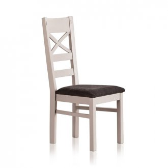 Shay Painted Rustic Solid Oak and Plain Charcoal Fabric Dining Chair