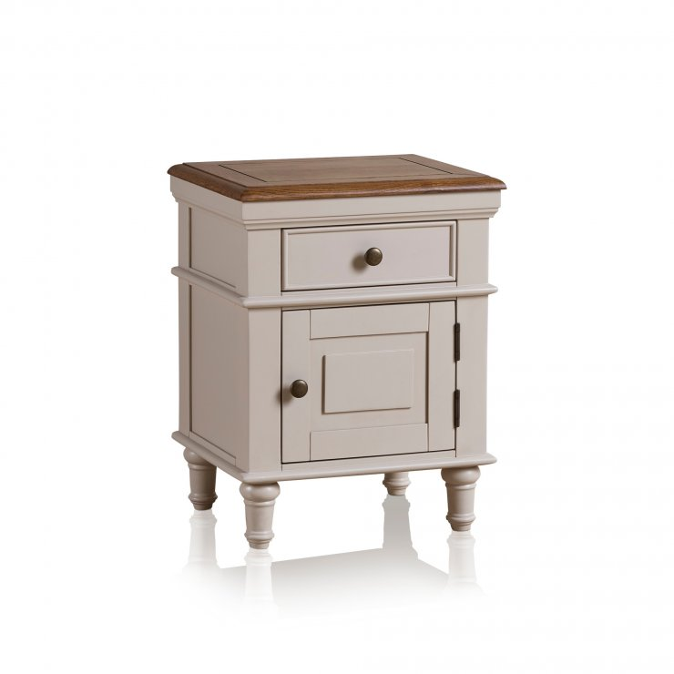 Shay Rustic Oak and Painted 1 Drawer Bedside Table - Image 4