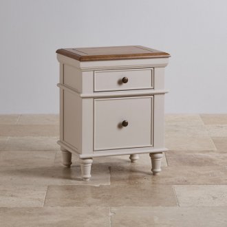 Shay Rustic Oak and Painted 2 Drawer Bedside Table