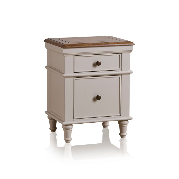Shay Rustic Oak and Painted 2 Drawer Bedside Table - Image 7