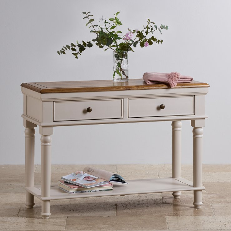 Shay Rustic Oak and Painted Console Table