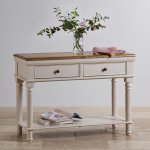 Shay Rustic Oak and Painted Console Table - Thumbnail 2