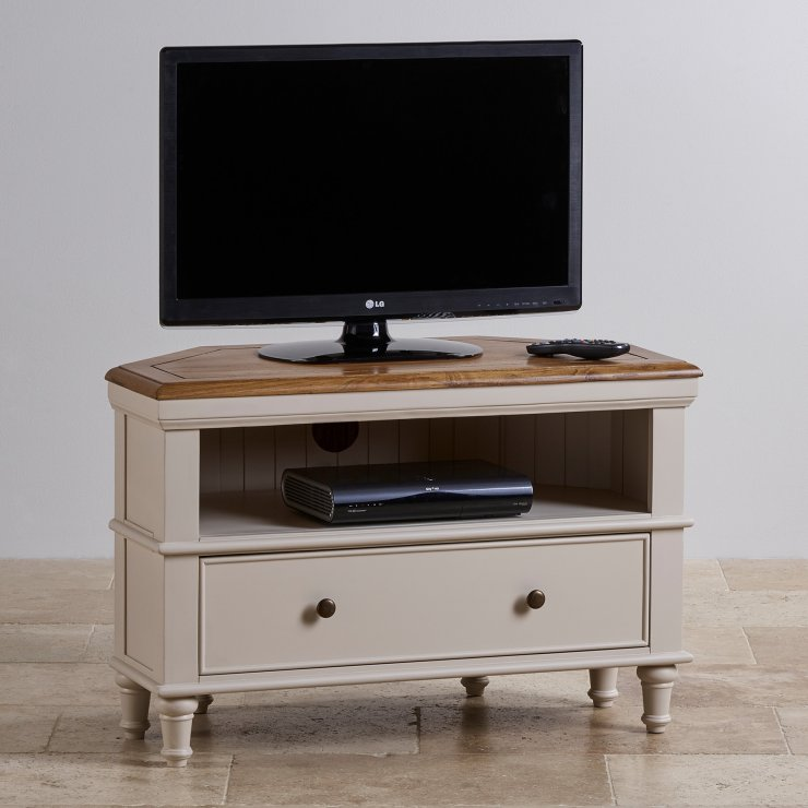 Shay Rustic Oak and Painted Corner TV Cabinet