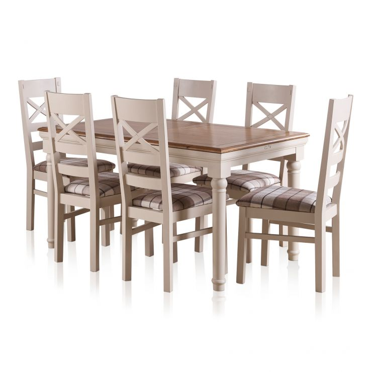 Shay Dining Table Set In Painted Oak 6 Brown Check Chairs