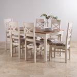 Shay Rustic Oak and Painted Dining Set - 5ft Extending Table & 6 Shay Brown Check Chairs - Thumbnail 2