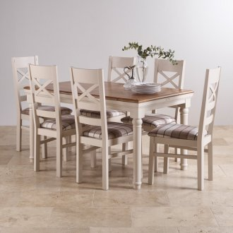 Shay Rustic Oak and Painted Dining Set - 5ft Extending Table & 6 Shay Brown Check Chairs