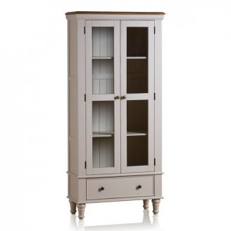 Shay Rustic Oak and Painted Display Cabinet