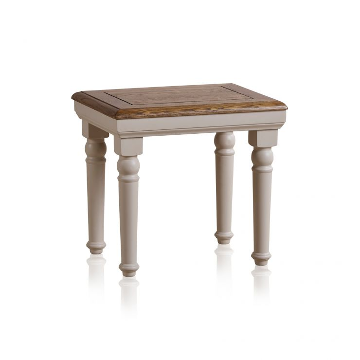 Shay Rustic Oak and Painted Dressing Table Stool - Image 4