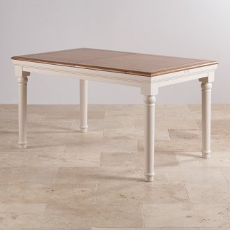 Shay Rustic Oak and Painted 5ft x 3ft Extending Dining Table
