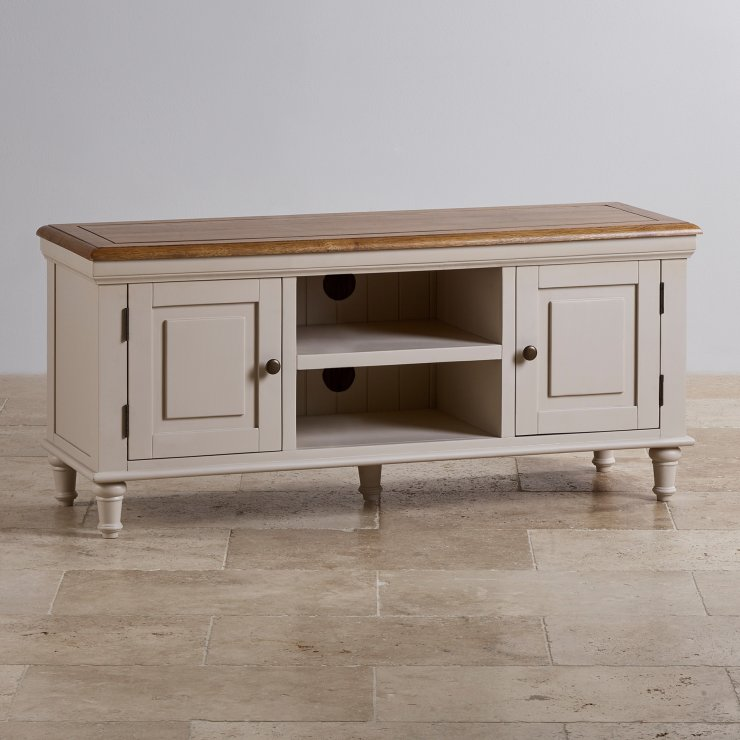 Shay Rustic Oak and Painted Large TV Cabinet