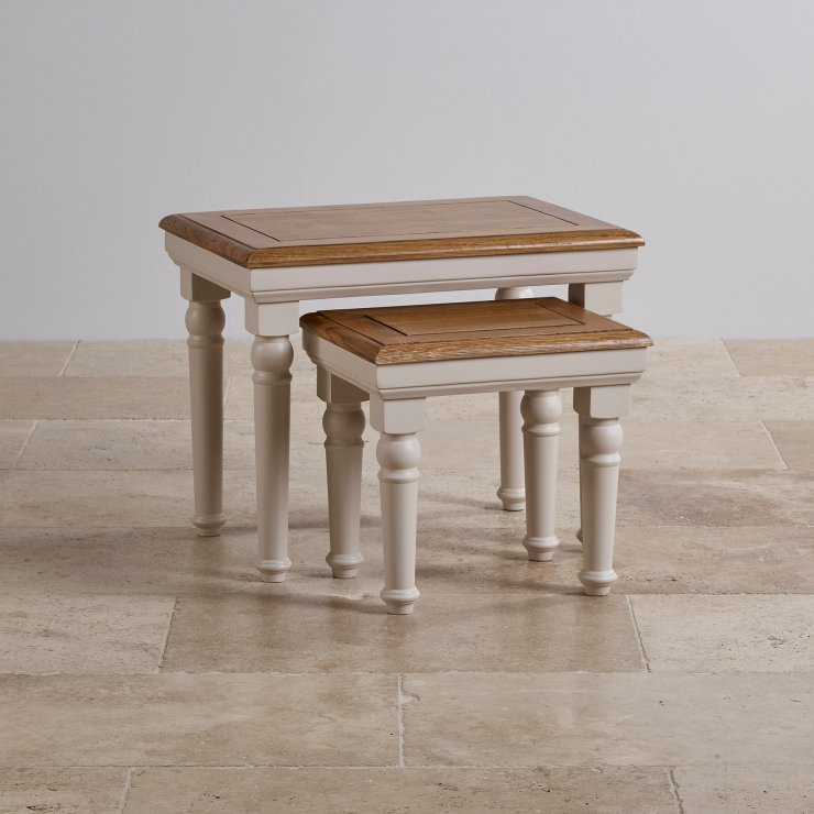 Shay Rustic Oak and Painted Nest of Tables