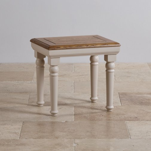 Shay Rustic Oak and Painted Dressing Table Stool