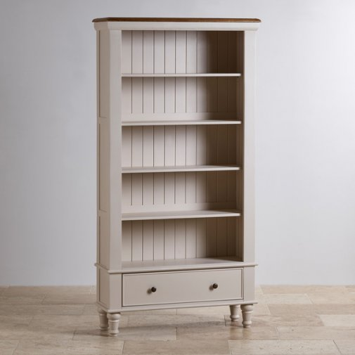 Shay Rustic Oak and Painted Tall Bookcase