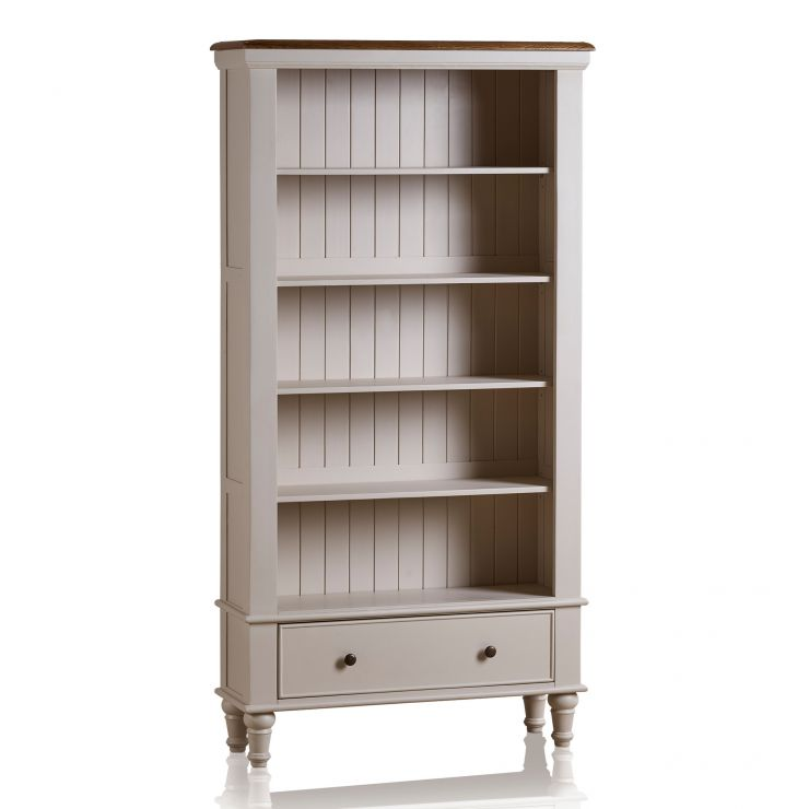 Shay Rustic Oak and Painted Tall Bookcase - Image 6
