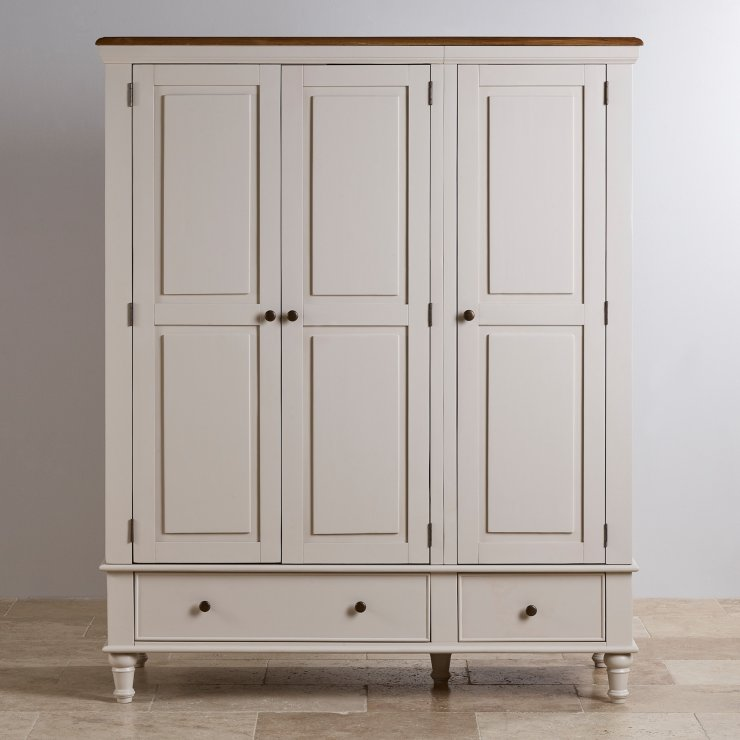 Shay Rustic Oak and Painted Triple Wardrobe