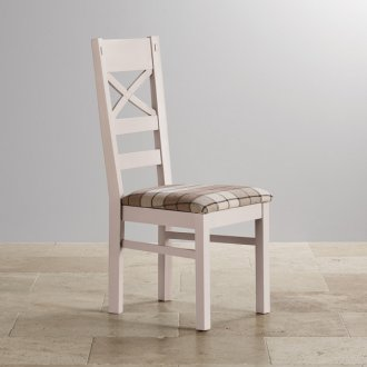 Shay Rustic Solid Oak and Painted and Brown Checked Fabric Dining Chair