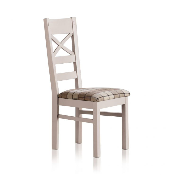 Shay Rustic Solid Oak and Painted and Brown Checked Fabric Dining Chair - Image 1