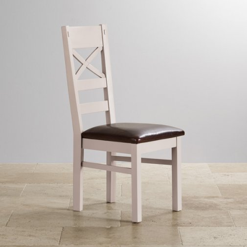 Shay Rustic Solid Oak and Painted and Brown Leather Dining Chair