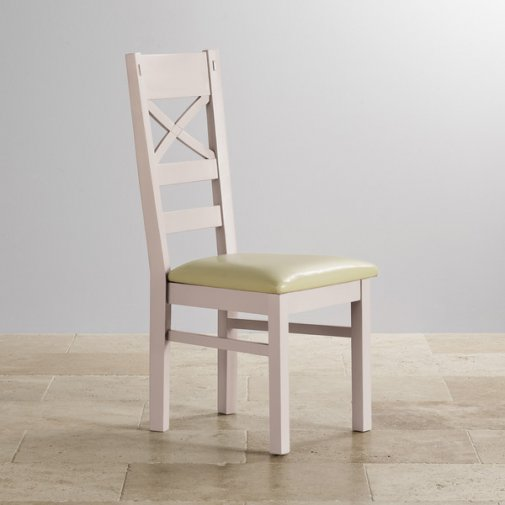 Shay Rustic Solid Oak and Painted and Cream Leather Dining Chair