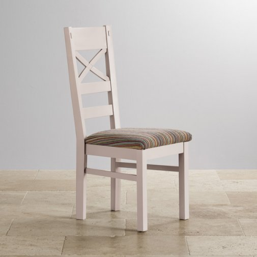 Scroll back chair with solid oak legs check brown fabric for Multi coloured fabric dining chairs