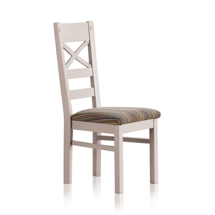 Shay Rustic Solid Oak and Painted and Multi-coloured Stripe Fabric Dining Chair - Image 4