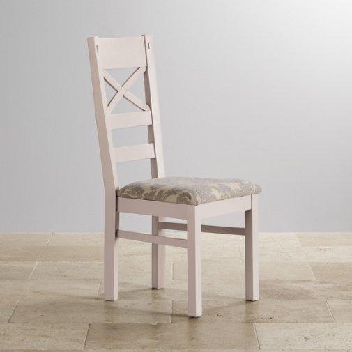 Shay Rustic Solid Oak and Painted and Patterned Grey Fabric Dining Chair