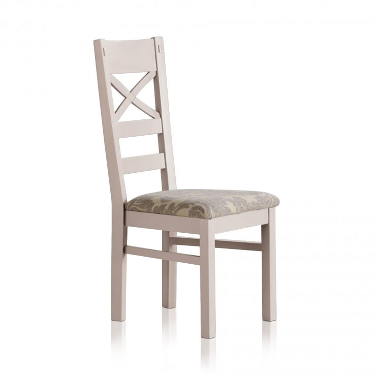 Shay Rustic Solid Oak and Painted and Patterned Grey Fabric Dining Chair - Image 3