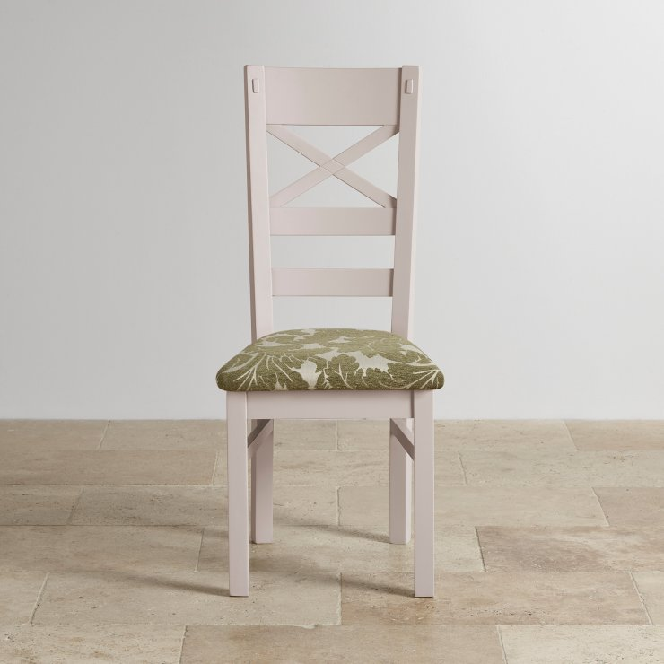 Shay Rustic Solid Oak and Painted and Patterned Sage Fabric Dining Chair