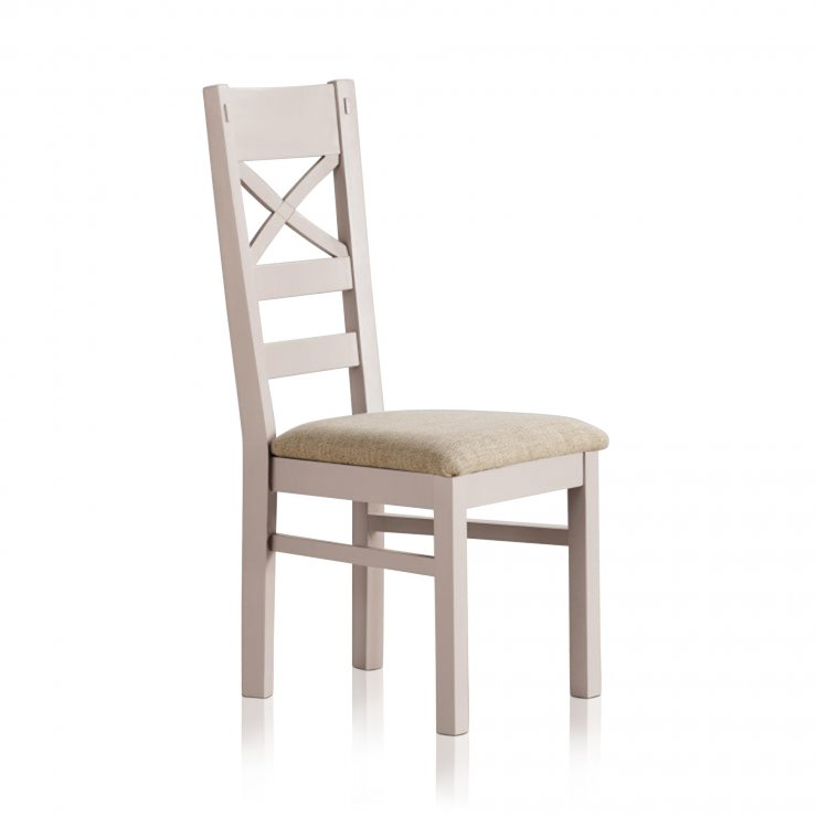 Shay Rustic Solid Oak and Painted and Plain Beige Fabric Dining Chair - Image 1