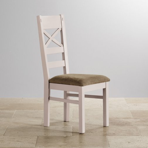 Shay Rustic Solid Oak and Painted and Plain Sage Fabric Dining Chair