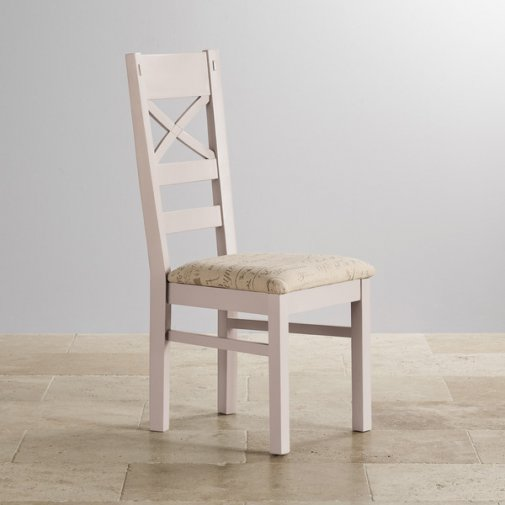 Shay Rustic Solid Oak and Painted and Scripted Beige Fabric Dining Chair