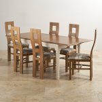 Shay Rustic Solid Oak and Painted Dining Set - 5ft Extending Table + 6 Wave Back Brown Check Chairs - Thumbnail 2