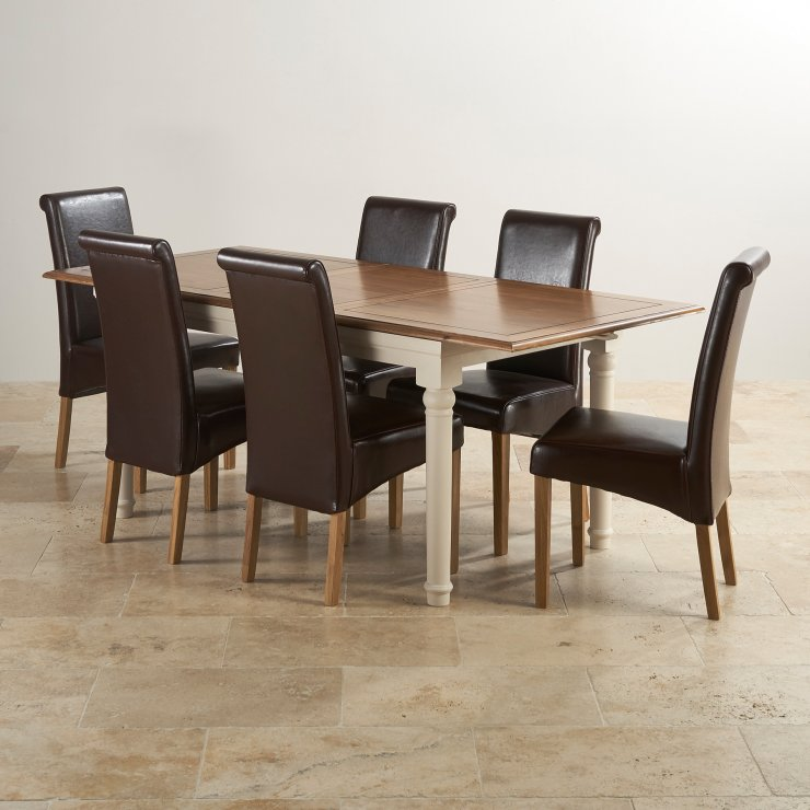 Shay Rustic Solid Oak and Painted Dining Set - 5ft Extending Table with 6 Scroll Back Brown Leather