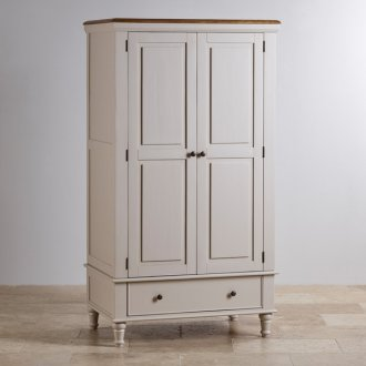 Shay Rustic Solid Oak and Painted Double Wardrobe