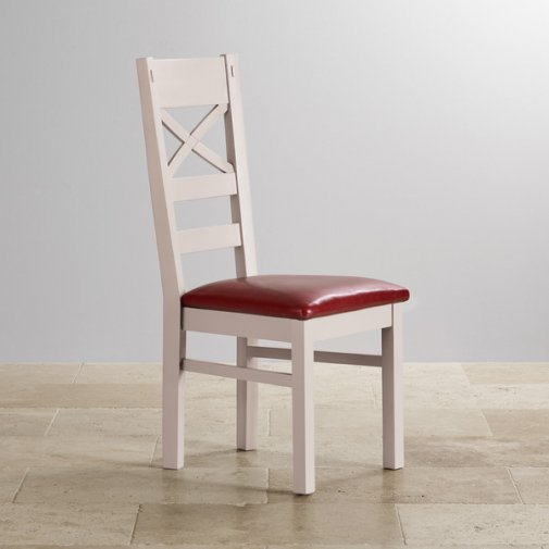 Shay Rustic Solid Oak Dining Chair with Red Leather Chair Pad