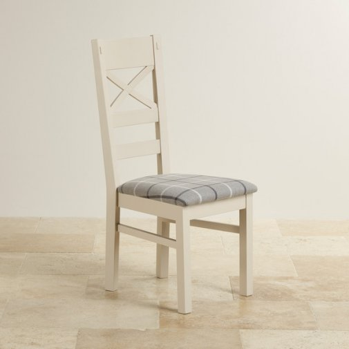 Shay Rustic Solid Oak Painted and Check Granite Fabric Dining Chair
