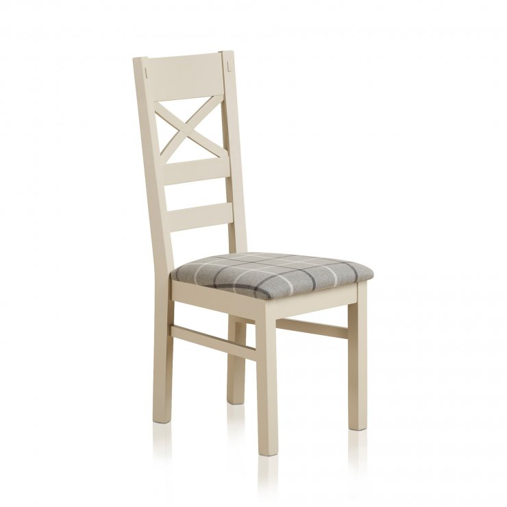 Shay Rustic Solid Oak Painted and Check Granite Fabric Dining Chair - Image 2