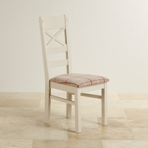 Shay Rustic Solid Oak Painted and Check Natural Fabric Dining Chair