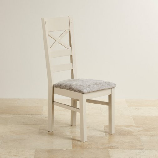 Shay Rustic Solid Oak Painted and Plain Truffle Fabric Dining Chair