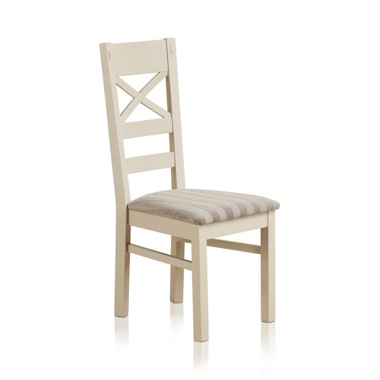 Shay Rustic Solid Oak Painted and Striped Silver Fabric Dining Chair