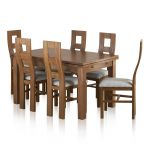 "Sherwood Solid Oak Dining Set - 4ft 7"" Extending Table with 6 Wave Back Plain Grey Chairs - Thumbnail 1"