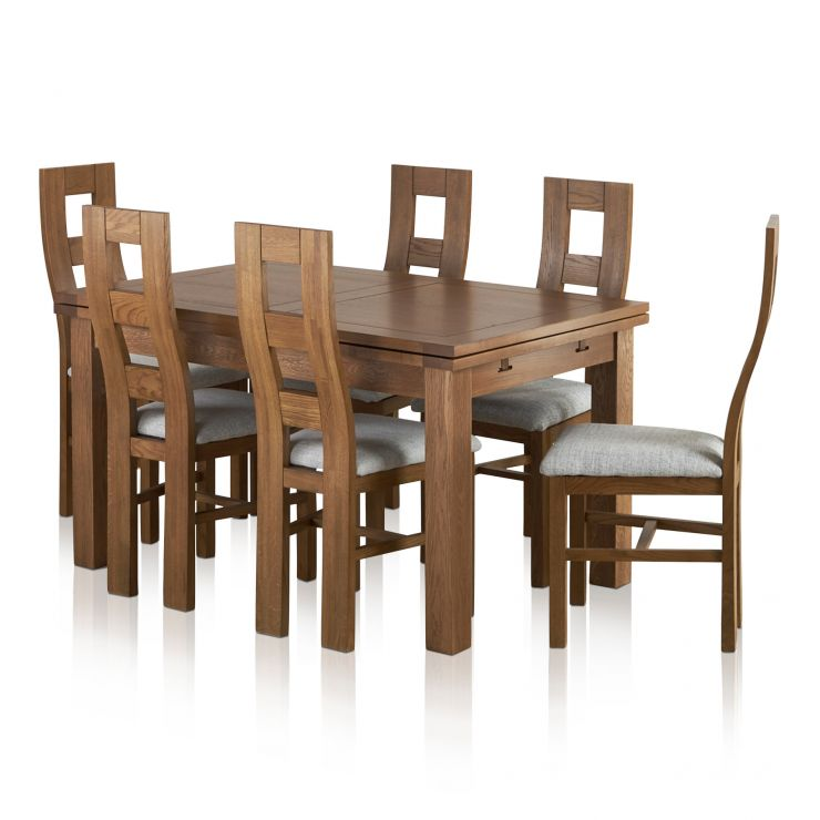 "Sherwood Solid Oak Dining Set - 4ft 7"" Extending Table with 6 Wave Back Plain Grey Chairs"