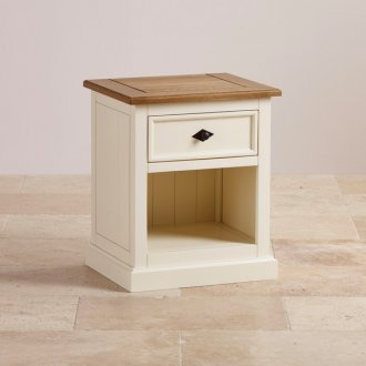 Shutter Brushed Oak and Painted 1 Drawer Bedside Table