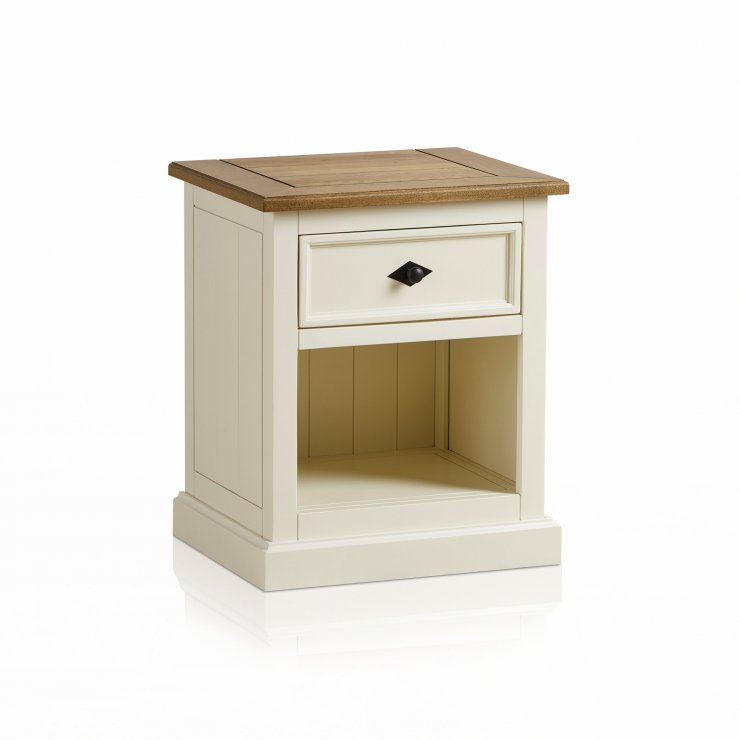 Shutter Brushed Oak and Painted 1 Drawer Bedside Table - Image 6