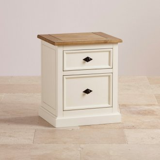 Shutter Brushed Oak and Painted 2 Drawer Bedside Table