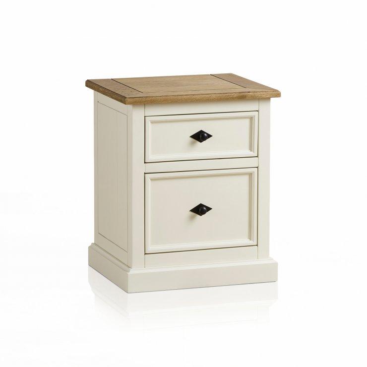 Shutter Brushed Oak and Painted 2 Drawer Bedside Table - Image 5