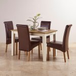 Shutter Brushed Oak and Painted 4ft Dining Table with 4 Scroll Back Brown Leather Chairs - Thumbnail 2
