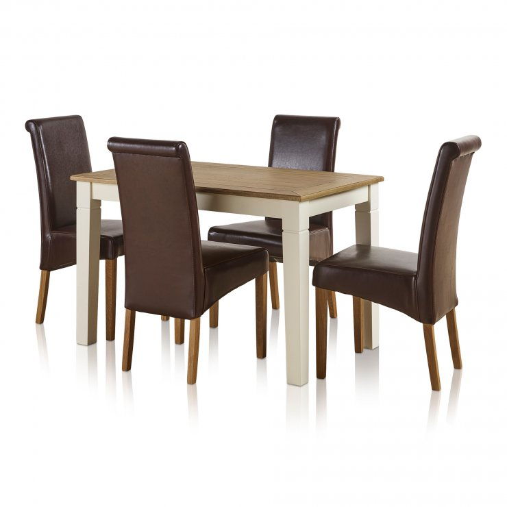 Shutter Brushed Oak and Painted 4ft Dining Table with 4 Scroll Back Brown Leather Chairs - Image 2