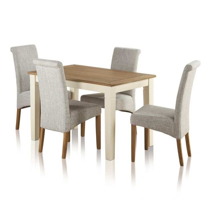 Shutter Brushed Oak and Painted 4ft Dining Table with 4 Scroll Back Plain Grey Chairs - Image 7